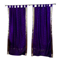 Indian Selections - Pair of Purple Tab Top Sheer Sari Curtains, 43 X 63 In. - Size of each curtain: 43 Inches wide X 63 Inches drop.