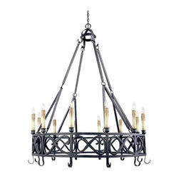 World Imports - World Imports WI80019 Wrought Iron 12 Light Up Lighting Chandelier from the Iron - Twelve light chandelierRequires 12 candelabra base 60W max bulbsComes with 10 feet of chain and 12 feet of wire