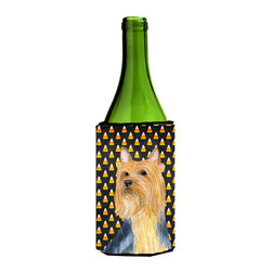 Caroline's Treasures - Silky Terrier Candy Corn Halloween Portrait Wine Bottle Koozie Hugger - Silky Terrier Candy Corn Halloween Portrait Wine Bottle Koozie Hugger Fits 750 ml. wine or other beverage bottles. Fits 24 oz. cans or pint bottles. Great collapsible koozie for large cans of beer, Energy Drinks or large Iced Tea beverages. Great to keep track of your beverage and add a bit of flair to a gathering. Wash the hugger in your washing machine. Design will not come off.