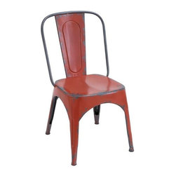"""BZBZ55444 - Metal Red Chair for Modern or Traditional Style - Metal Red Chair for Modern or traditional style. Lend a touch of classic elegance to rooms with this simple, charmingly styled metal Red Chair 35""""H, 19""""W. This stylish chair is designed from top grade metal with fine attention to details to ensure unmatched durability and reliable usage. It comes with a following dimensions 19""""W x 16""""D x 35""""H."""