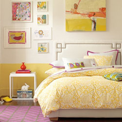 Serena & Lily - Marni Duvet - If the perfect shade of yellow exists, we think this might be it. Paired with our clean-lined white medallion print, Marni adds just the right punch of color and contrast. White fabric-covered buttons.
