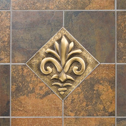 "4"" Solid Brass Wall Tile with Fleur De Lis Design - Made of solid brass and offered with an optional tile frame, this wall tile features a charming fleur de lis design that will add style and sophistication to your kitchen or bath."