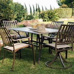 Panama Jack - Panama Jack Island Breeze 7-piece Slatted Dining Group - Panama Jack's Island Breeze dining group incorporates a tubular aluminum frame in a unique powder coated espresso finish that will not rust. This versatile outdoor dining set is weather proof and long lasting so you can enjoy meals for years to come.