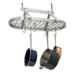 Enclume - Enclume Decor Classic Oval Pot Rack - Stainless Steel - Includes:    Grid with 4 grid brackets    2 - S hooks    2 - Ceiling hooks    2 - six inch pieces of decor chain    12 EPHS Hooks.