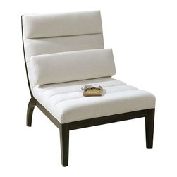 "Uttermost Berlynn Modern Armless Chair - Sleek and modern lounge chair with sumptuous channel tufts in a relaxing curve.  Durable, white linen blend on exposed wood frame with rubbed ebony finish. Pillow included. Sleek and modern lounge chair with sumptuous channel tufts in a relaxing curve. Durable white linen blend on exposed wood frame with rubbed ebony finish. Pillow included. Seat height is 18""."