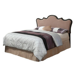 """Acme - Magal Brown Suede Fabric and Espresso Leather-Like Queen Headboard - Magal brown suede fabric and espresso leather like traditional style queen / full headboard with button pin trim. This set includes the queen headboard with button pin trim. Some assembly required. Measures 52""""H."""
