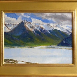 """""""Twin Lakes"""" (Original) by Greg  Clibon - I was on my way to Turquoise Lake near Leadville Colorado to go camping. I say 'was' because I brought plein air supplies with the intention of maybe finding a spot to paint for awhile on the way. If you have ever been to Twin Lakes on the way to Aspen CO you will appreciate the grandeur of this gem."""