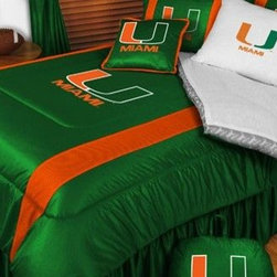Sports Coverage - Miami Hurricanes NCAA Bedding - Sidelines Comforter and Sheet Set Combo - Queen - This is a great Miami Hurricanes NCAA Bedding Comforter and Sheet set combination! Buy this Microfiber Sheet set with the Comforter and save off our already discounted prices. Show your team spirit with this great looking officially licensed Comforter which comes in new design with sidelines. This comforter is made from 100% Polyester Jersey Mesh - just like what the players wear. The fill is 100% Polyester batting for warmth and comfort. Authentic team colors and logo screen printed in the center.   Microfiber Sheet Hem sheet sets have an ultrafine peach weave that is softer and more comfortable than cotton.  Its brushed silk-like embrace provides good insulation and warmth, yet is breathable.  The 100% polyester microfiber is wrinkle-resistant, washes beautifully, and dries quickly with never any shrinkage. The pillowcase has a white on white print beneath the officially licensed team name and logo printed in vibrant team colors, complimenting the NEW printed hems. The Teams are scoring high points with team-color logos printed on both sides of the entire width of the extra deep 4 1/2 hem of the flat sheet.  Includes:  -  Flat Sheet - Twin 66 x 96, Full 81 x 96, Queen 90 x 102.,    - Fitted Sheet - Twin 39 x 75, Full 54 x 75, Queen 60 X 80,    -  Pillow case Standard - 21 x 30,    - Comforter - Twin 66 x 86, Full/Queen 86 x 86,