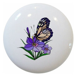 Carolina Hardware and Decor, LLC - Butterfly Purple Flower Ceramic Knob - New 1 1/2 inch ceramic cabinet, drawer, or furniture knob with mounting hardware included. Also works great in a bathroom or on bi-fold closet doors (may require longer screws). Item can be wiped clean with a soft damp cloth. Great addition and nice finishing touch to any room!