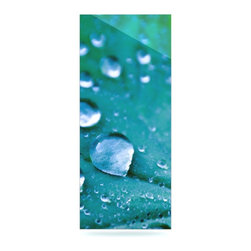 """Kess InHouse - Iris Lehnhardt """"Water Droplets Aqua"""" Teal Metal Luxe Panel (9"""" x 21"""") - Our luxe KESS InHouse art panels are the perfect addition to your super fab living room, dining room, bedroom or bathroom. Heck, we have customers that have them in their sunrooms. These items are the art equivalent to flat screens. They offer a bright splash of color in a sleek and elegant way. They are available in square and rectangle sizes. Comes with a shadow mount for an even sleeker finish. By infusing the dyes of the artwork directly onto specially coated metal panels, the artwork is extremely durable and will showcase the exceptional detail. Use them together to make large art installations or showcase them individually. Our KESS InHouse Art Panels will jump off your walls. We can't wait to see what our interior design savvy clients will come up with next."""