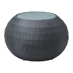 ZUO - Ocean Beach Coffee Table - Exotically rounded, the Ocean Beach set brings a hint of Marrakesh to your dinner. Belled shape in a brown synthetic weave will stand up to anything you spill. Includes a table and chairs, sold separately.