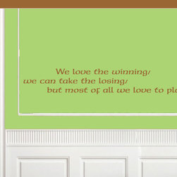 We Love to Play Vinyl Wall Decal billiardquotes03, Matte White, 72 in. - Vinyl Wall Quotes are an awesome way to bring a room to life!