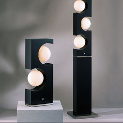 NOVA Lighting - Nova 1960, Accent Table Lamp - Calling upon the kitschy, retros styles of the '60s, this design promises to bring a cool touch to today's home. Round opal glass globes are set against a clean, dark brown rectangular shape offering a hip, modern accent.