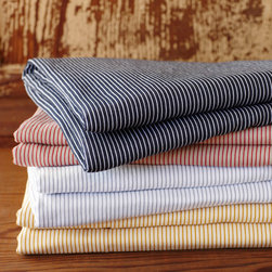 Mini Stripe Cotton-Linen Sheets - I love these striped cotton linen sheets.