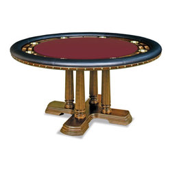 California House - claridge 110-in professional holdem table - These solid hardwood tables are custom-crafted in the US in maple with your choice of four wood finishes and four felt colors. A ring of ten (10) cupholders and carved chipwells line the felt gaming surface and is surrounded by a padded, synthetic leather elbow rest.
