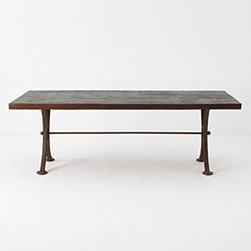 """Anthropologie - Burnt Wood Dining Table - Burnt wood finishMango wood28""""H, 84""""W, 42""""DImported"""