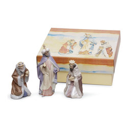 """Lladro Porcelain - Lladro Three Wise Men Figurine Set - Plus One Year Accidental Breakage Replaceme - """"Hand Made In Valencia Spain - Sculpted By: Juan Huerta - Included with this sculpture is replacement insurance against accidental breakage. The replacement insurance is valid for one year from the date of purchase and covers 100% of the cost to replace this sculpture (shipping not included). However once the sculpture retires or is no longer being made, the breakage coverage ends as the piece can no longer be replaced. """""""