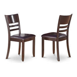 """East West Furniture - Lynfield Dining Chair with Faux Leather Seat in Cappuccino Finish - Set of 2 - Lynfield Dining Chair with Faux Leather Upholstered Seat in Cappuccino Finish; Features an Cappuccino finish that complements a variety of decorative themes.; The smooth finish of The Lynfield dining set subtly reflects light to brighten The room and showcase the table, chairs and bench.; Regency-style chairs with curved lines offer comfortable support for the back and allow for decorative cushions to accent the Lynfield dining room set.; Weight: 36 lbs; Dimensions: 18""""L x 18""""W x 37""""H"""