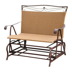 International Caravan - Valencia Outdoor Wicker Double Glider Patio C - Made out of Premium Outdoor Wicker. Complete weatherproof outdoor protection. UV Light Fading System. Equipped with a smooth easy gliding mechanism for maximum comfort. Strong Steel Frame for maximum support. 23 in. W x 27 in. D x 42 in. H (62 lbs.)