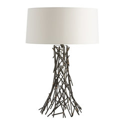 """Arteriors - Grazia Lamp - The slender matchstick-sized pieces of natural iron are hand arranged to create the capricious design of the base.  Held together with brass welds, each lamp will be slightly different due to the hand-crafted nature.  Topped with a flat drum, ivory microfiber shade with matching lining.  A subtle take on brutalism.  Lamp base: 11"""" w x 11"""" d x 19"""" h  Socket Wattage: 100  Switch Color: Black  Switch Location: At Neck  Switch Type: 3-Way Rotary  Cord Color: Clear/Silver"""