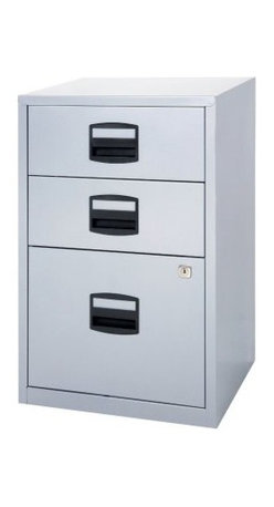 Bisley Three Drawer Home Filing Cabinet - Light Gray - A home office deserves still needs professional-quality storage solutions like the Bisley Three Drawer Home Filing Cabinet – Light gray. The 3-drawer design is built to hold both US letter- and A4-sized documents and the fully welded steel construction is durable enough to provide you with years of dependable service. It's the perfect storage solution for offices big and small and comes to you in a light gray finish that complements any decor. Measures 16W x 15.75D x 26.5H inches. Internal filing drawer measures 13W x 14.8D x 9.8H inches. Stationary drawer measures 13W x 14.8D x 5H inches.