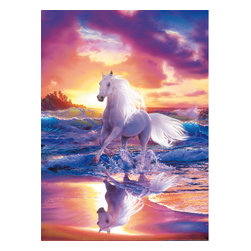 Free Spirit Wall Mural - Dream-like imagery creates a mesmerizing scene as a beautiful white horse splashes through the ocean waves in this stunning wall mural.