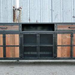Vintage Industrial Style Media Console/Credenza.  Reclaimed Wood. Steel. Custom -