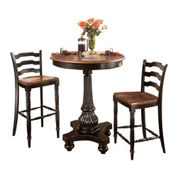 """Hooker Furniture - Indigo Creek Pub Table - White glove, in-home delivery included!  Black Finish with Rub-Through.  Pub Table only.  Comes with one 20"""" leaf.  Bottom of Apron to Floor: 38 1/2"""""""
