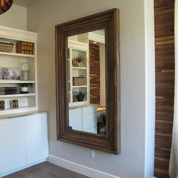"""Utah Valley Parade of Homes - House #15 (office mirror) - Massiv Mirror in Weathered Oak - 8.5"""" Silverton profile 30 x 60 int dim"""