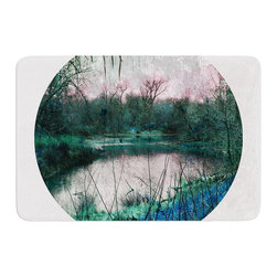 "KESS InHouse - Micah Sager ""Swamp"" Lake Circle Memory Foam Bath Mat (17"" x 24"") - These super absorbent bath mats will add comfort and style to your bathroom. These memory foam mats will feel like you are in a spa every time you step out of the shower. Available in two sizes, 17"" x 24"" and 24"" x 36"", with a .5"" thickness and non skid backing, these will fit every style of bathroom. Add comfort like never before in front of your vanity, sink, bathtub, shower or even laundry room. Machine wash cold, gentle cycle, tumble dry low or lay flat to dry. Printed on single side."