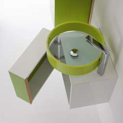 BMOOD Model 169 by WS Bath Collections - This funky sink and cabinet combo will keep your visitors guessing. It could go super sophisticated or into totally fun kiddo territory.