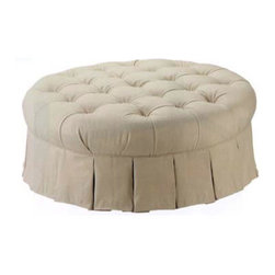 Round Tufted Ottoman - Anything tufted is perfect for a glamorous space. I love that this tufted ottoman can be used as seating, a footrest or as a tabletop.