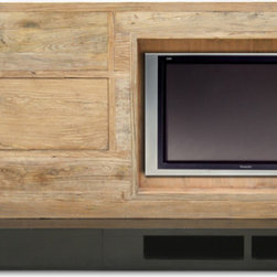 Custom Entertainment Center - One of our obsessions is the 'big black hole' which swallows up living rooms-terrible on design. This entertainment center is a good example of making a TV less of a dominant feature, in lovely reclaimed wood. By special order.