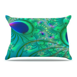 """Kess InHouse - Alison Coxon """"Fractal Turquoise"""" Pillow Case, Standard (30"""" x 20"""") - This pillowcase, is just as bunny soft as the Kess InHouse duvet. It's made of microfiber velvety fleece. This machine washable fleece pillow case is the perfect accent to any duvet. Be your Bed's Curator."""