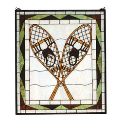 Meyda Tiffany - Meyda Tiffany Trek of the Snowshoes Window X-51528 - A pair of rustic Willow Tan snowshoes rest on aglistening iridized Snow White ground. Bordered in BarkBrown and Woods Green with a band of Crystalline Clearand made of 498 pieces of hand cut stained glass, thiswindow is reminiscent of Winter at lodge or c