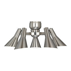 """Lamps Plus - Contemporary Retro Brushed Nickel 5 Light Ceiling Fan Light Kit - Five light brushed nickel light kit. Retro styling. Energy efficient design comes with CFL bulbs. This is a universal light kit meant for use with most ceiling fans. Five 13 watt CFL bulbs included. 8 1/2"""" high. 23 3/4"""" wide.  Brushed nickel finish.  With energy efficient with CFL bulbs.  Manually adjustable head.  Pull chain operation.  Will fit most ceiling fans.  Includes five 13 watt CFL bulbs.  23 3/4"""" wide.   8 1/2"""" high."""