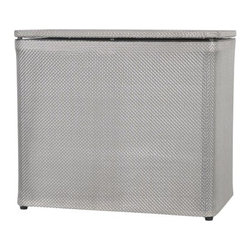 Lamont Home - Basketweave Bench Hamper Silver - Made from high quality PVC/Polyester fabric, these traditional styles have been updated in a wide range of patterns to match any decor. A vinyl lid with metal grommet completes the look for the hamper. A very durable product that adds style to any laundry room.