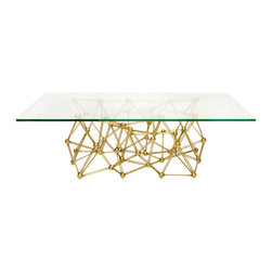 Worlds Away Molecule Gold Leaf Rectangular Coffee Table - Worlds Away Molecule Gold Leaf Rectangular Coffee Table