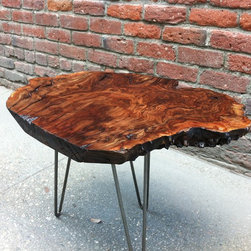 Claro Walnut Burl Side/Accent Table - P10015 - Just look at that amazing figuring and details on this Walnut Burl table! It just pops right up at you! This is the sister piece to the unfinished Walnut Burl slab, also for sale, that was cut from the same burr. Perfect size as a side table but can also be used as a small coffee table for those smaller spaces and apartments. Three Eames-style hairpin legs give this table a look that fits perfectly in any type of setting, from rustic to mid-century modern and everything in-between. Natural/Live edges surround this piece.