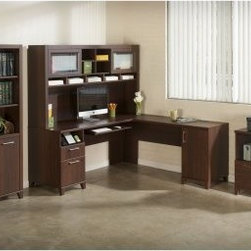 Bush Office Connect Achieve L-Shaped Desk and Hutch with Bookcase and Lateral Fi - Perfect for a traditional office space or for creating a home office that has it all, the Bush Office Connect Achieve L-Shaped Desk and Hutch with Bookcase and Lateral File - Sweet Cherry is the complete package when it comes to work needs. You'll find storage galore with a full-sized bookcase and credenza with multiple shelves. Also included are a file and printer stand, as well as more shelves and a desk with a spacious work area and drawers. Made of durable wood solids and veneers and topped with a classic sweet cherry finish, this office set features an integrated wire management grommet and four-port USB hub, while the handy pull-out tray works for a traditional keyboard or laptop. There's also a charging station, supply drawer, and lockable file drawer for your letter-size files. There's even more storage in the right pedestal, which has a large storage compartment with an adjustable shelf tucked inside.About Bush FurnitureBush Furniture is the eighth largest furniture company in the United States. Bush manufactures high-quality products, which are designed to be easily assembled and provide great value for the price. Bush furniture is made from a combination of particleboard, fiberboard, and solid wood components. The use of real wood components will be noted in the product description, if applicable.Bush Industries has over 4,000,000 total square feet of manufacturing, warehousing, and distribution space. This allows for a very wide selection of high-quality furniture with the ability to ship quickly. All standard residential Bush products carry a generous 6-year warranty. All Bush business furniture, including the A series, C series, and Quantum series, is backed by a 10-year warranty from Bush, one of the best in the industry.