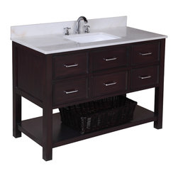 Kitchen Bath Collection - New Hampshire 48-in Bath Vanity (White/Chocolate) - This bathroom vanity set by Kitchen Bath Collection includes a chocolate cabinet with soft close drawers, white marble countertop, single undermount ceramic sink, pop-up drain, and P-trap. Order now and we will include the pictured three-hole faucet and a matching backsplash as a free gift! All vanities come fully assembled by the manufacturer, with countertop & sink pre-installed.