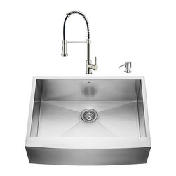 """VIGO Industries - VIGO All in One 30-inch Farmhouse Stainless Steel Kitchen Sink and Faucet Set - Give your kitchen a complete makeover with a VIGO All in One Kitchen Set featuring a 30"""" Farmhouse - Apron Front kitchen sink, faucet, soap dispenser, matching bottom grid and sink strainer."""