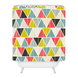 DENY Designs - Heather Dutton Triangulum Shower Curtain - Who says bathrooms can't be fun? To get the most bang for your buck, start with an artistic, inventive shower curtain. We've got endless options that will really make your bathroom pop. Heck, your guests may start spending a little extra time in there because of it!