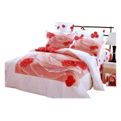 Le Vele - 4 Pc Valentine Duvet Cover Bedding Set (Twin Cover) - Choose Size: Twin Cover. Twin size includes bed sheet, duvet cover, pillow case and flanged pillow sham. Full or queen size includes one flat bed sheet, one duvet cover, two pillow cases and two pillow shams. Machine washable. Tumble dry. 205 thread count. Imported. Tucked in or can hang over eliminating the need for a bed skirt. Oversized flat sheet provides versatility. Snaps at the foot of the duvet make it easy to insert a comforter. Excellent brightness and long lasting colors. Sheets feel soft and inviting. High quality cotton fabric and superior workmanship. Made from 100% cotton fabricTwin:. Bed Sheet: 96 in. L x 71 in. W. Duvet Cover: 87 in. L x 63 in. W. Pillow Case: 30 in. L x 20 in. W. Pillow Sham: 32 in. L x 20 in. WFull and Queen: . Flat Bed Sheet: 99 in. L x 87 in. W. Duvet Cover: 87 in. L x 80 in. W. Pillow Cases: 30 in. L x 20 in. W. Pillow Shams: 32 in. L x 20 in. WThis beautiful floral print features a large pink rose watermark sketched with soft highlights and has smaller red roses scattered around in a white backdrop. Satin weaving for wrinkle control are printed with the latest reactive dyeing technology. This complete bedding set is delivered in an elegant box wrapped in glossy paper and tied with an ornamental bow. A Le Vele French designer carrying gift bag is also included in the package.