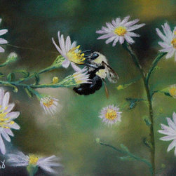 Busy Bee (Original) by Prashant Shah - Took a few pictures of this wonderful bee at the Starved Rock State Park.  She wasn't bothered by my camera much.  I knew right away it would be an inspiration for a painting.
