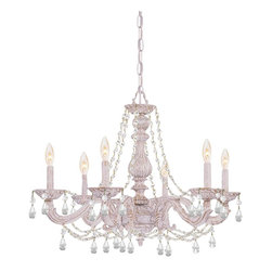 Crystorama - Crystorama 5026-AW-CL-MWP Chandelier - The Sutton Collection uses distressed gold brush strokes over an Antique White finish to remind us of a Paris flea market. The combination of wrought iron with clear crystal accents makes this fixture both timeless and whimsical. This Paris Flea chandelie