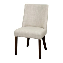 NPD (New Pacific Direct) Furniture - New Paris Dining Chair (Set of 2) by NPD Furniture, Rice, Dark Brown Legs - Comfort and durable, this New Paris fabric dining side chair (Set of 2) will be a great addition to your dining area. This modern chair has Natural or Dark Brown wood legs with fabric upholstered seat and back in rice finish.