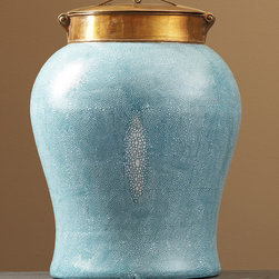 Turquoise Shagreen Jar with Bronze Lid - Large - Without endangering any species, this hand painted Khaki colored Shagreen Temple Jar is part of the Tozai's Classic Collection. Beautifully versatile and adaptable to various styles of d�cor, this shark skin textured jar is accentuated with a bronze lid and perfect to perch on a shelf or console. Topped with a delicate bronze lid as a finishing touch, this earthy jar should be placed in plain view upon a shelf to be properly appreciated.