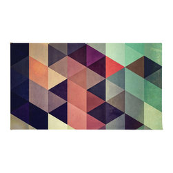 """Contemporary Colorful Geometric Shapes Rug, 36x24 - Using 100% woven polyester, these premium quality area rugs boast an exceptionally soft touch and high durability. Available in three versatile sizes (36""""x24"""", 60""""x36"""", 72""""x48"""") they are the perfect accent to any room in your home, featuring thousands of designs from your favorite artists on a subtle chevron pattern. Machine washable; non-skid pad not included."""