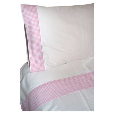 """100% Egyptian Cotton Sheet Set  - White w/ Pink Trim, Queen - 100% Egyptian Cotton 410 thread count customized sheet sets that coordinate with our Tuck Me In Good Night Bedding Retainment System. Our oversized flat sheets offer an additional 10"""" in length to provide for full coverage and comfort. They also include a special sewn sleeve/slot to receive the Tuck Me In bedding retainment rod (sold separately). With the Tuck Me In Good Night bedding retainment system your sheets will never get untucked again  - we guarantee it or your money back!"""